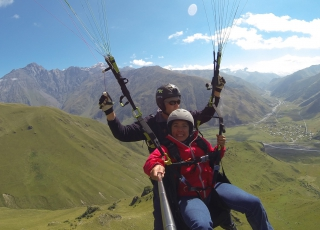 Georgia - Paragliding among the peaks of the Caucasus mountains